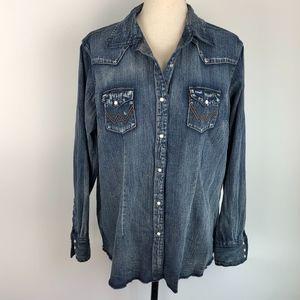 Wrangler Cotton Chambray Western Shirt Size XL